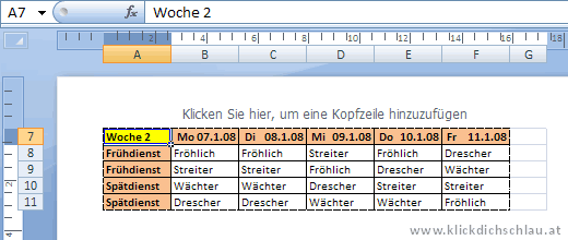 Seitenlayoutansicht in Excel 2007