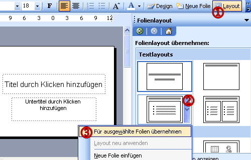 So �ndert man das Folienlayout.