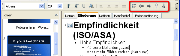 Gliederung in OpenOffice Impress