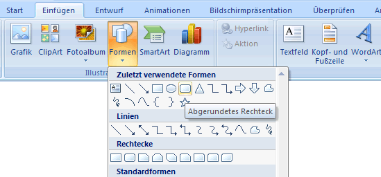 PowerPoint 2007 - Register Einf�gen - Formen