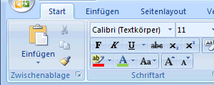 Multifunktionsleiste in Word Ausschnitt