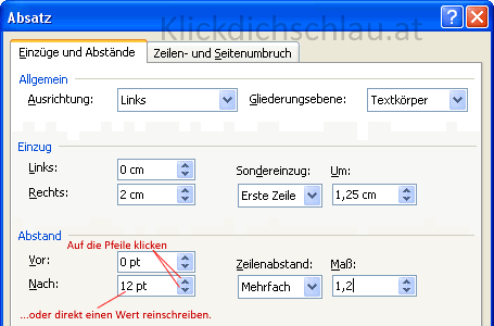 Dialogfenster Absatz in Word