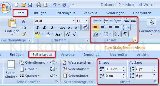Register Start und Seitenlayout in Word 2007